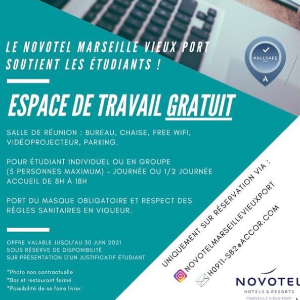 [Etudiants] Espace de travail gratuit au à l'Hotel Novotel Marseille Vieux Port (13)