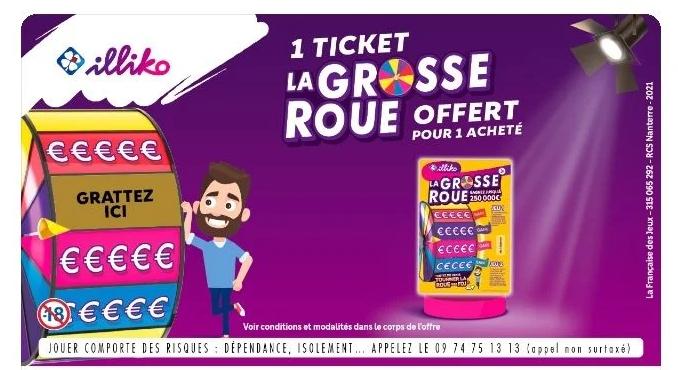 1 ticket à gratter Illiko La grosse roue acheté = 1 ticket offert (via l'Application Coupon Network)