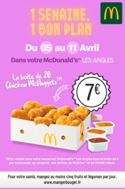 Boîte des 20 Chicken McNuggets à 7€ (Les Angles 30)