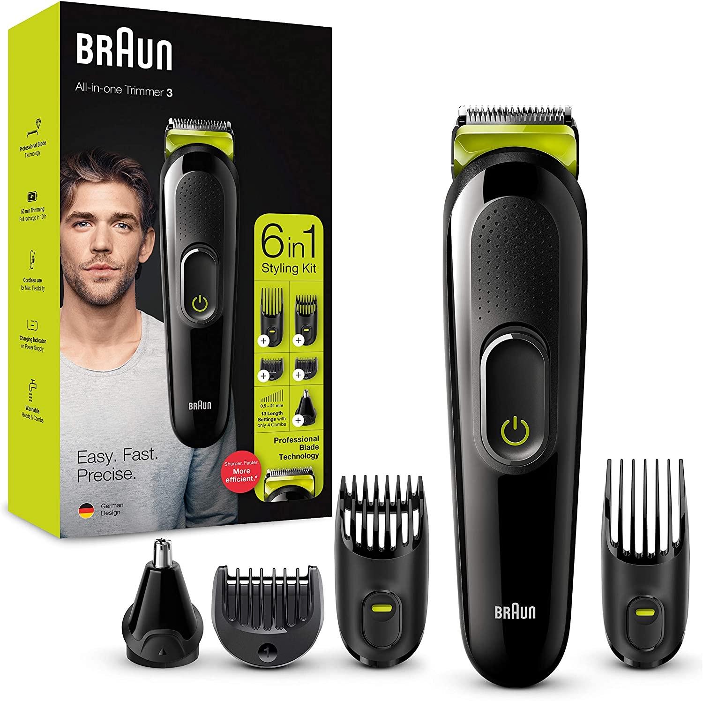 Tondeuse à Barbe, Cheveux, Nez et Oreilles 6-en-1 Braun MGK3221 - Noir/Vert
