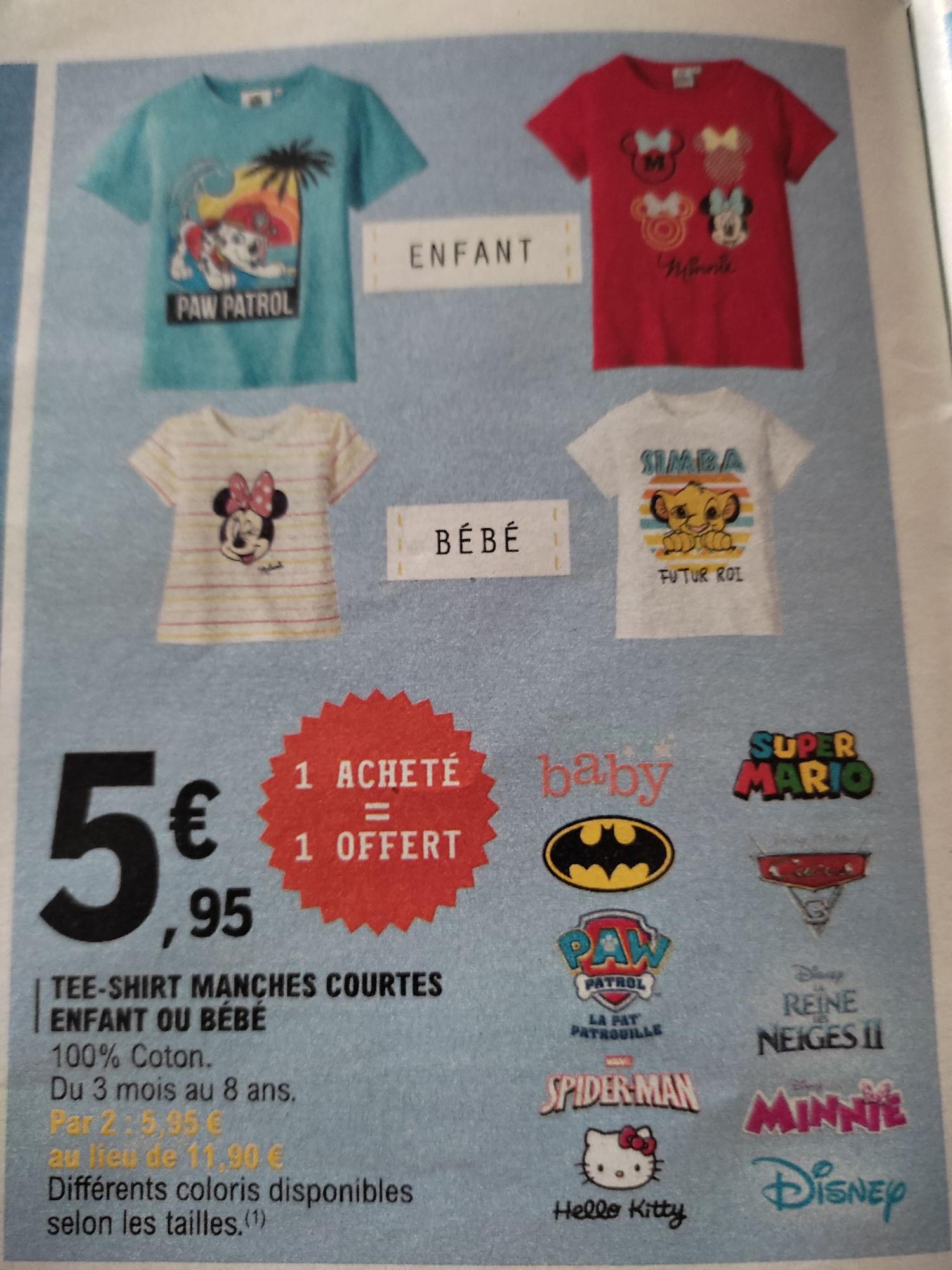 Lot de 2 T-shirts à manches courtes pour Enfants & bébé - Tailles 3 mois à 8 ans (Magasins participants)