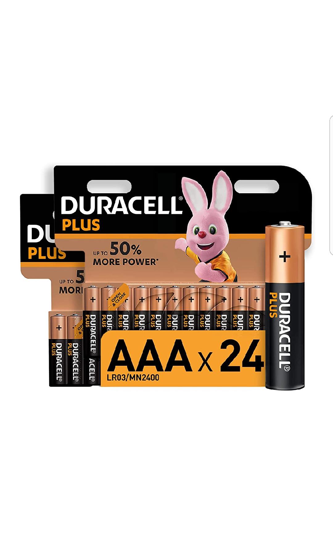 Lot de 24 piles alcalines AAA Duracell Plus - 1,5 Volts, LR03 / MN2400