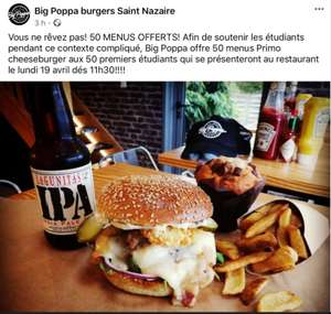 [Etudiants] Menu Burger offert - Big Poppa Trignac (44)