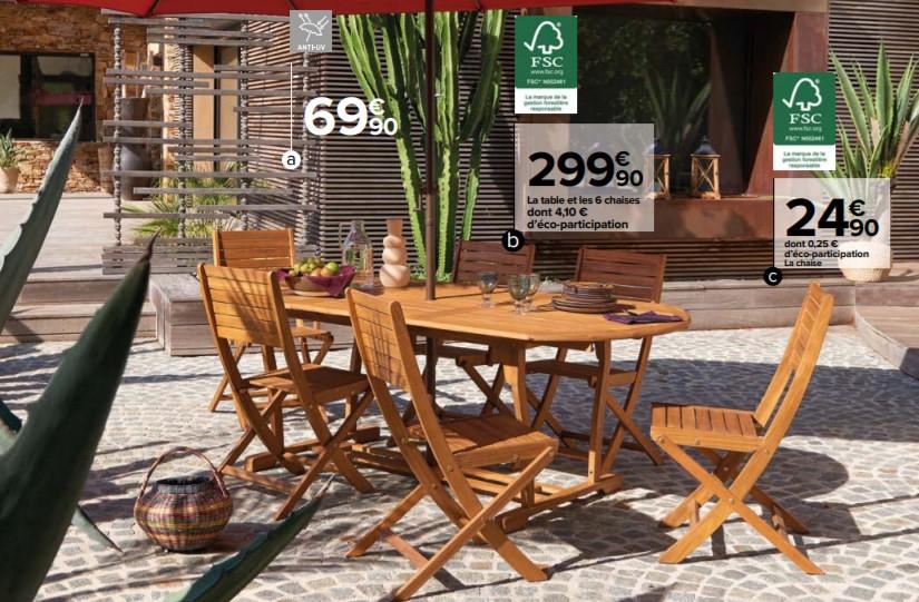 Ensemble de jardin 7 pièces : 1 table extensible + 6 chaises pliantes