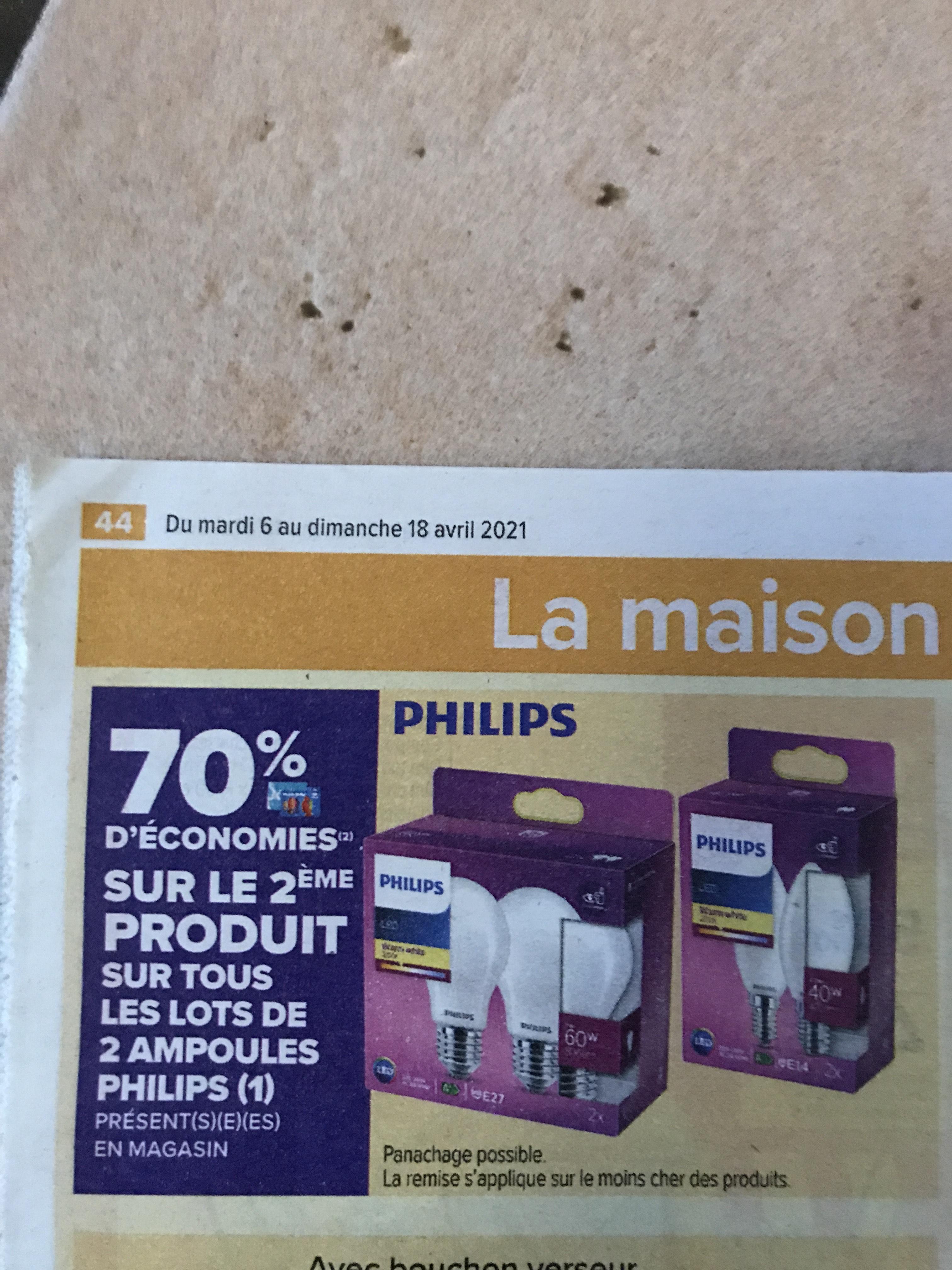 70% crédités sur la carte fidélité sur le 2ème produit sur les lots de 2 ampoules Philips