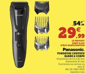 Tondeuse Cheveux, Barbe & Corps Panasonic ER-GB61-K503 (Magasins participants)
