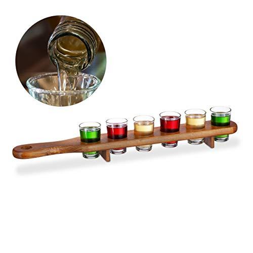 Planche à shots en bois Relaxdays 10022788 - 6 verres