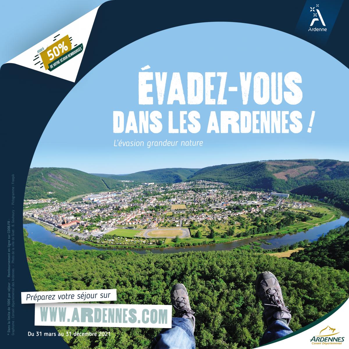50% de votre séjour dans les Ardennes remboursés dès 2 nuits d'hôtel et 1 activité (dans la limite de 100€ maximum)
