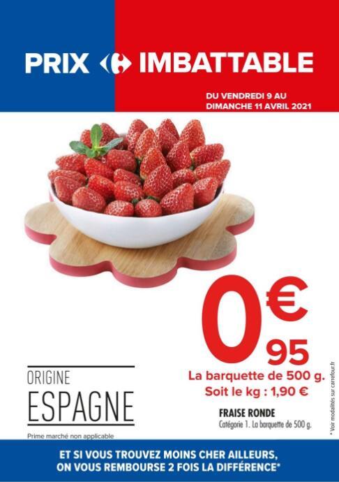 Barquette de Fraises rondes - Catégorie 1, 500 g (Origine Espagne)