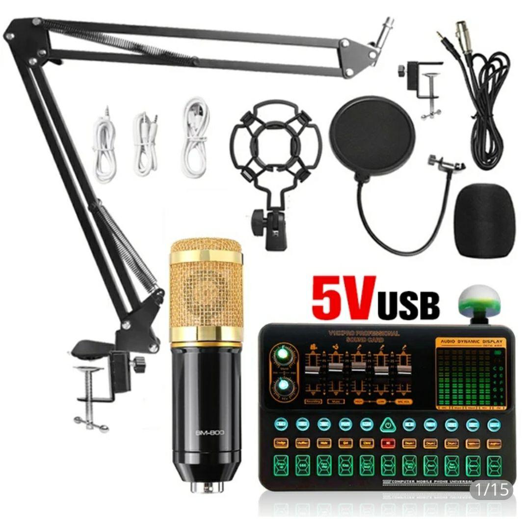 Microphone BM800 + carte son V10X Pro Mixer