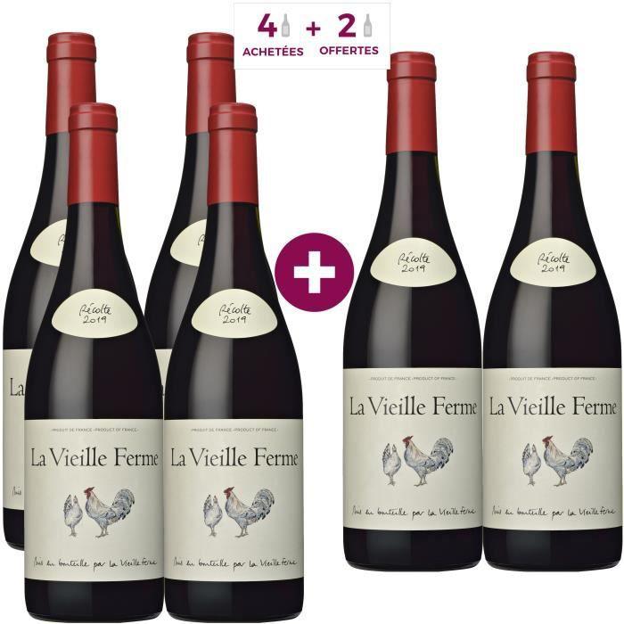 6 Bouteilles de Vin rouge de la Vallée du Rhône La Vieille Ferme 2019
