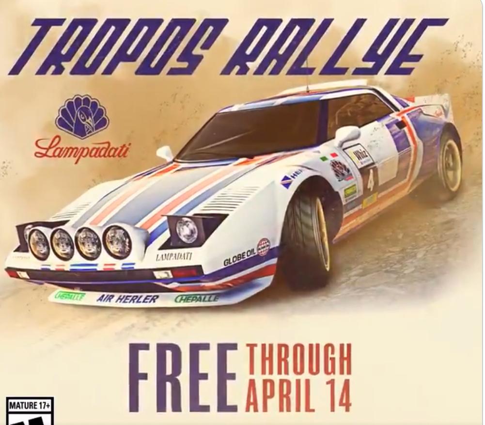 Lampadati Tropos Rallye et costumes Jock Cranley gratuit dans GTA Online (Dématérialisé - Consoles / PC)