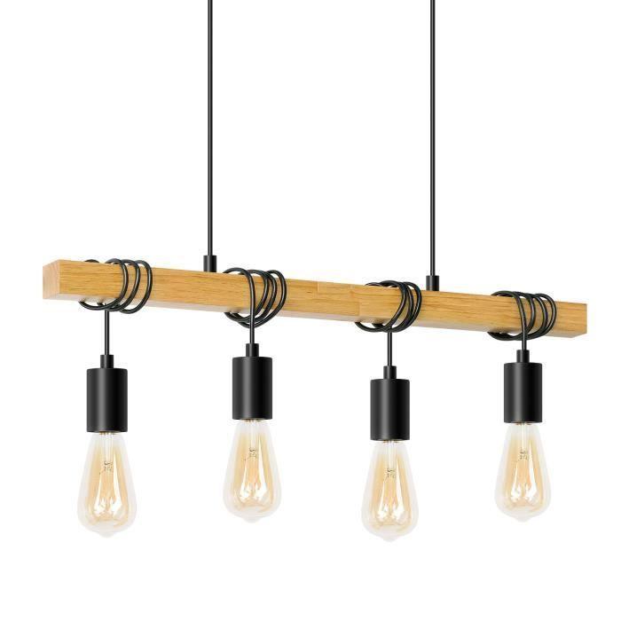 Plafonnier bois 4 ampoules Industriel (Vendeur tiers)