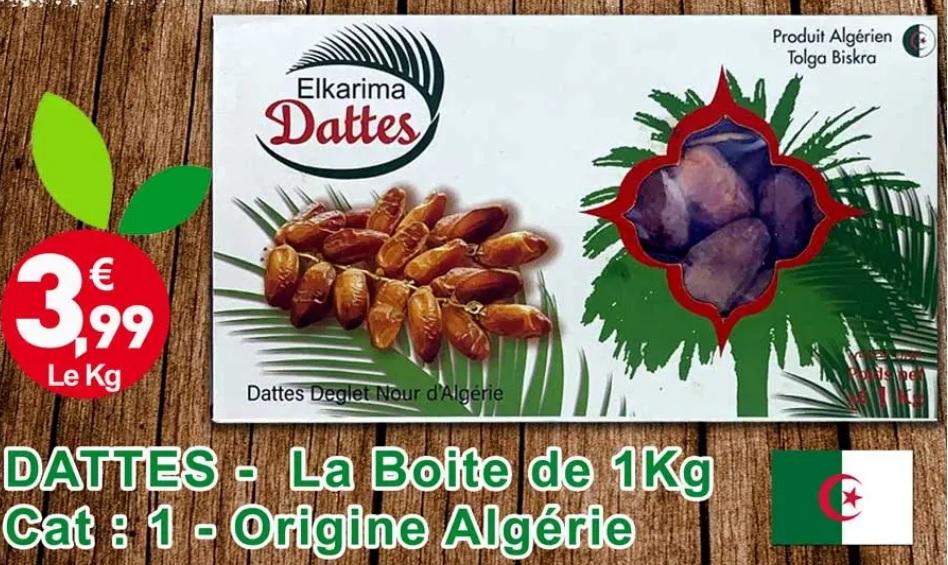 1 Kg Dattes Deglet Nour branchées - Origine Algerie ( Tolga ) / Catégorie 1
