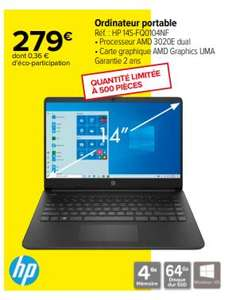 "PC Portable 14"" HP 14S-FQ0104NF - AMD 3020E , 4 Go de ram , 64 Go eMMC"