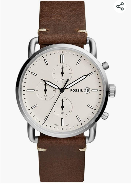 Montre homme Chronographe fossil Quartz avec Bracelet en Cuir FS5402