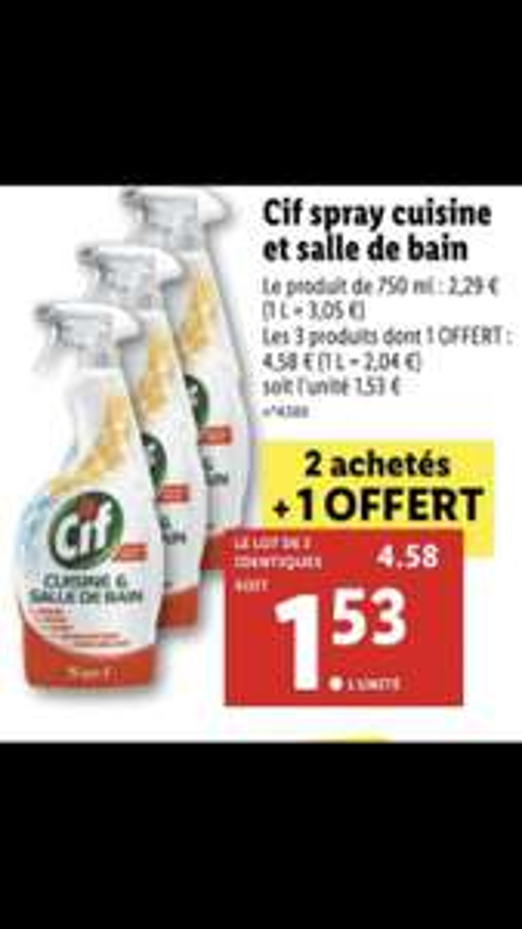 Lot de 3 Sprays cuisine et salle de bain Cif - 3 x 750ml