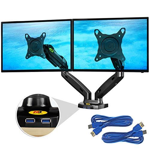 """Support de Bureau Ergosolid pour 2 écrans PC 17 à 27""""- Ressort à gaz jusqu'à 2x9 kg, HUB USB 3.0"""
