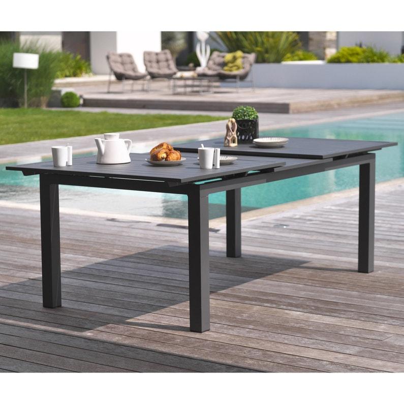 Table de jardin de repas rectangulaire DCB Garden Miami - Gris anthracite, de 6 à 10 personnes