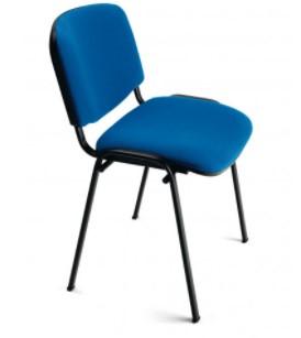 Lot de 5 chaises de réunion empilables en tissu - Bleu