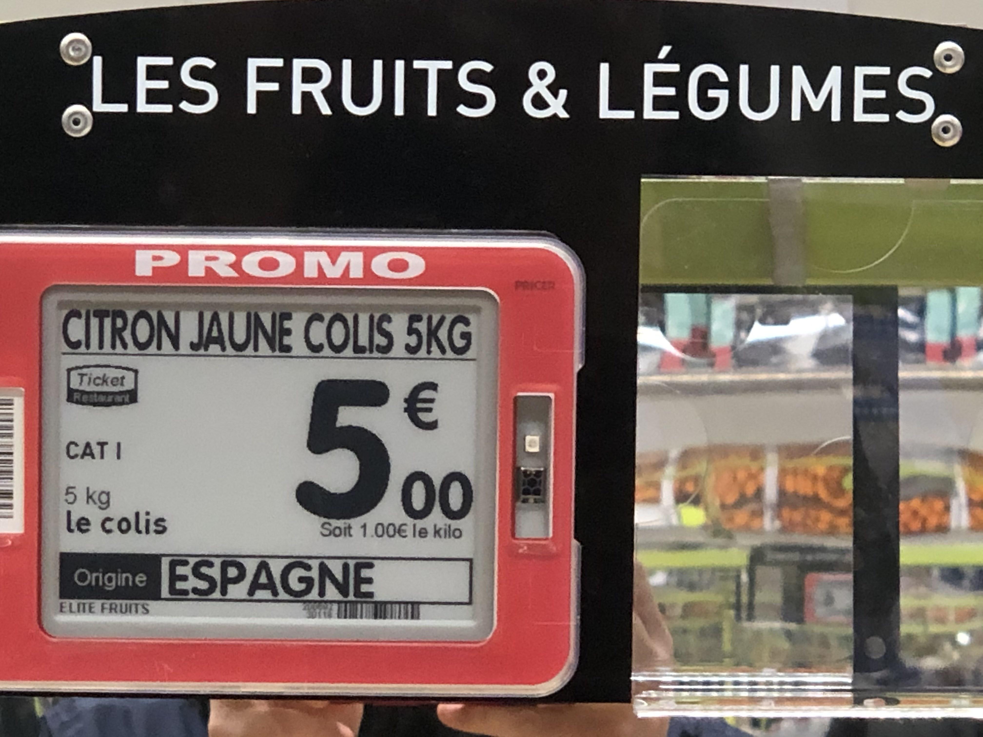 Carton de 5 Kg de Citron Jaune - O' Marché Frais La Courneuve (93)