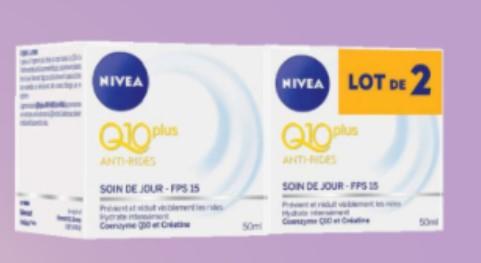 Lot de 2 pots de crème-visage Nivea Q10 Plus Anti-Rides FPS15 (via 15.17€ en fidélité)