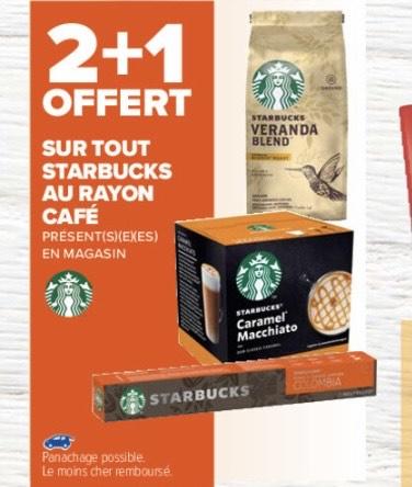 2 produits Starbucks café achetés = le 3ème offert (Le moins cher)