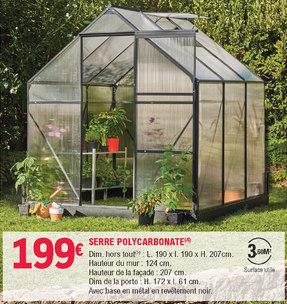 Serre de jardin - polycarbonate, noire, 3,60m2