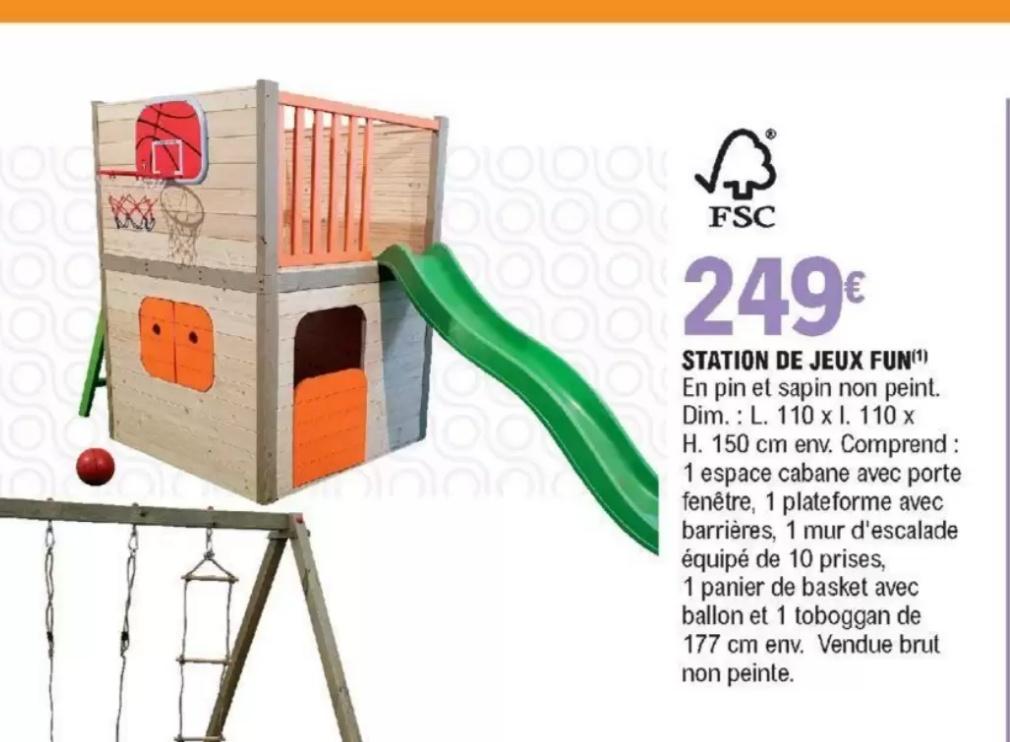Station de jeux Fun : Toboggan + Cabane en pin (110x110x150 cm, non peint)