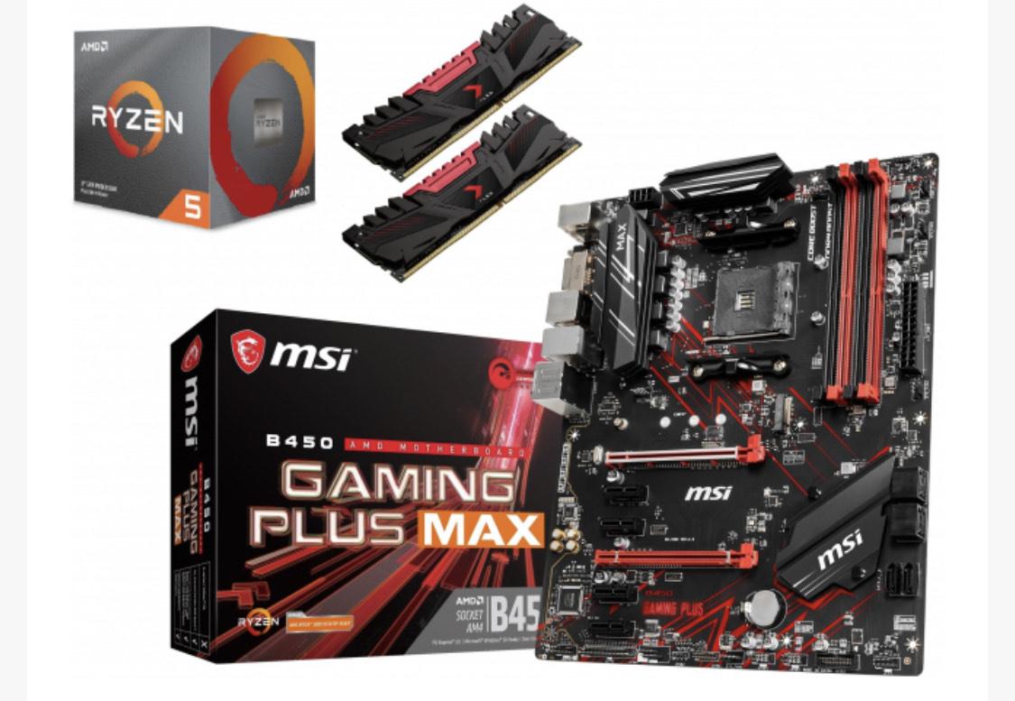 Kit Evo: Carte Mère MSI B450 Gaming Plus Max + Processeur Ryzen 5 3600 + Kit mémoire DDR4 PNY XLR8 16 Go (2 x 8 Go, 3200 MHz, CL16)