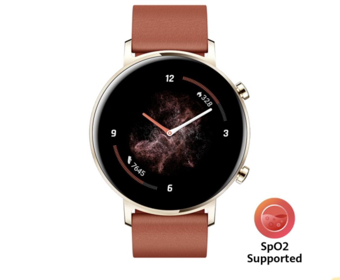 Montre Connectée Huawei Watch GT 2 Elegant (42mm, Bracelet Marron Rouge) + Balance connectée Huawei Scale 3