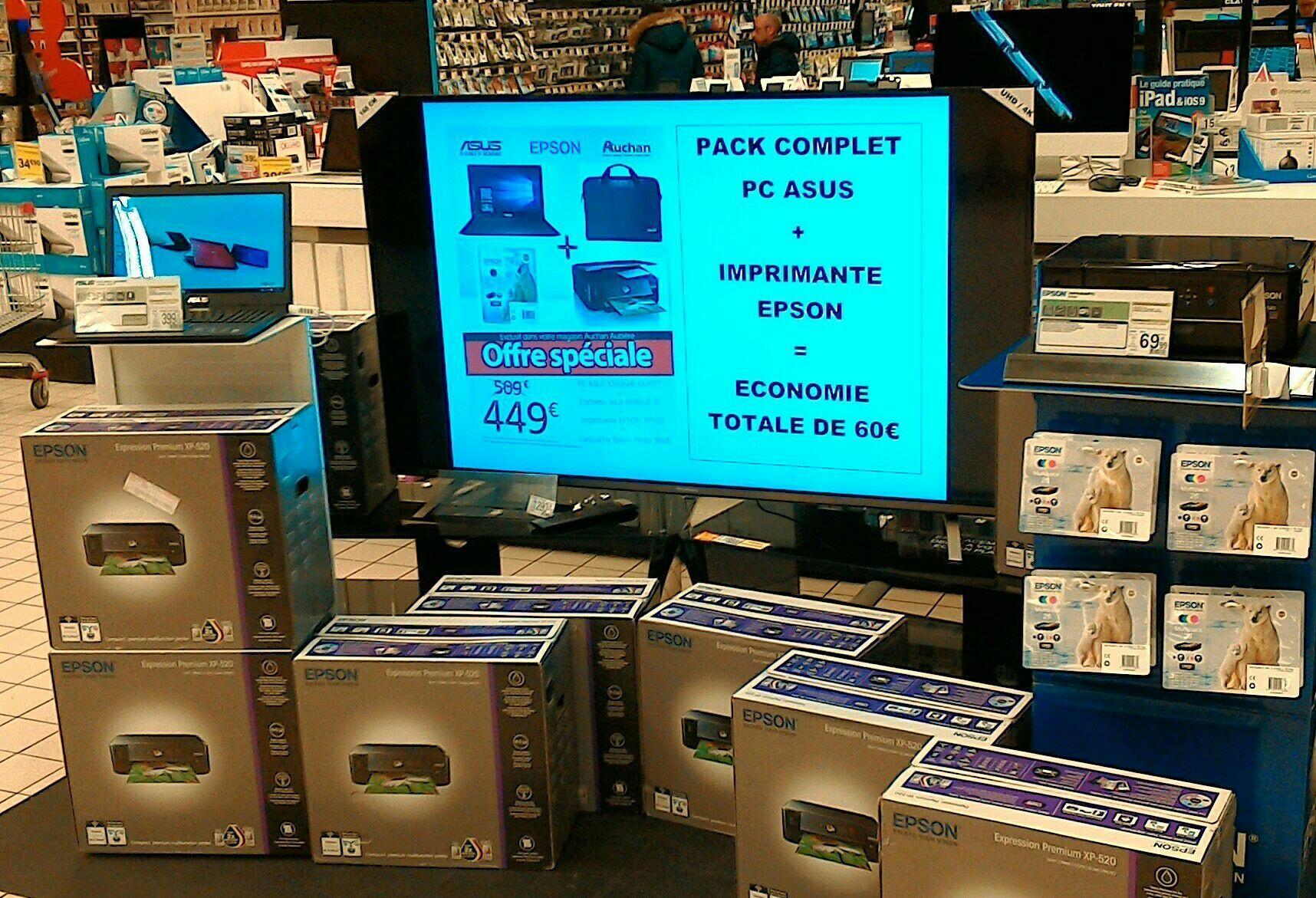 """Pack PC portable 15.6"""" Asus X553MA-XX397T (N3540, 4 Go de RAM, 1 To) + imprimante Epson Expression Premium XP-520 + sacoche"""