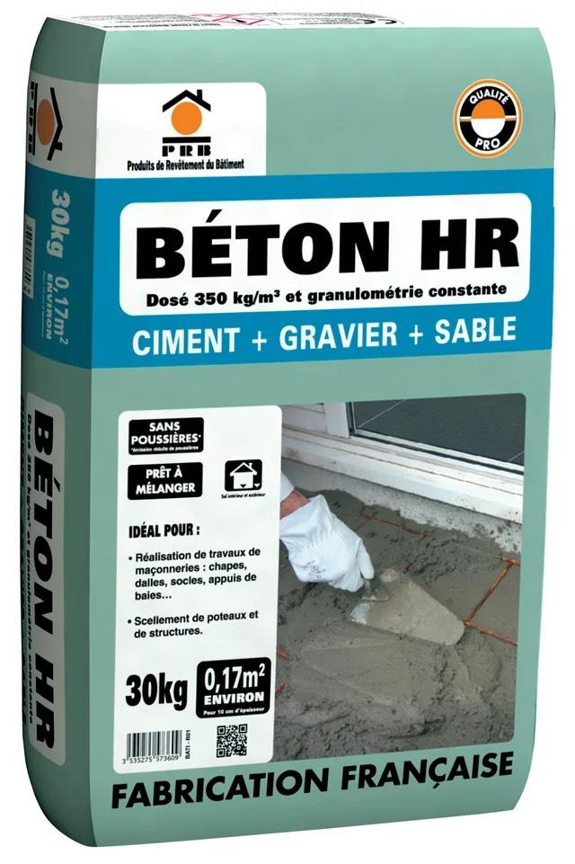 Béton sans poussière gris PRB, HR 30 kg