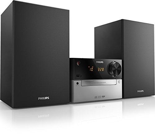 Chaîne Hifi Philips MCM2300 avec Lecteur CD, USB, Entrée Audio, Tuner FM, Basses Profondes, Gris et Noir