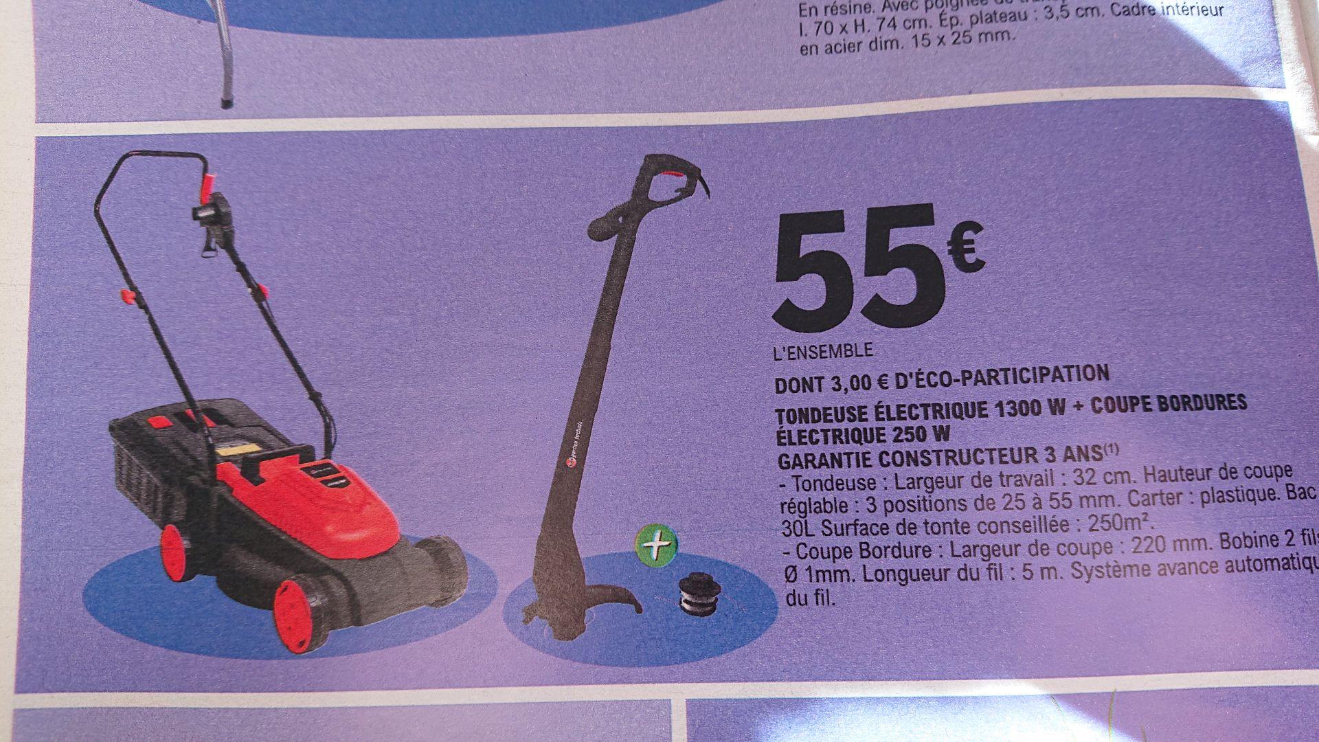 Tondeuse 1300W + Coupe bordure 250W électrique filaires - Garantie 3ans