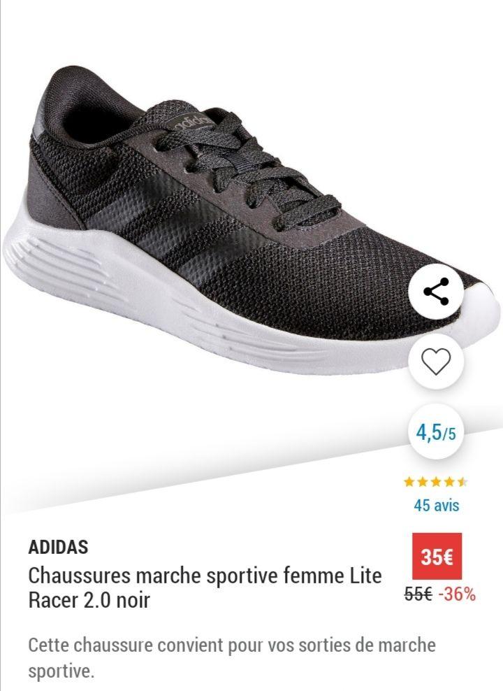 Chaussures de marche sportive Adidas Lite Racer 2.0 pour Femme - Tailles 36 à 42
