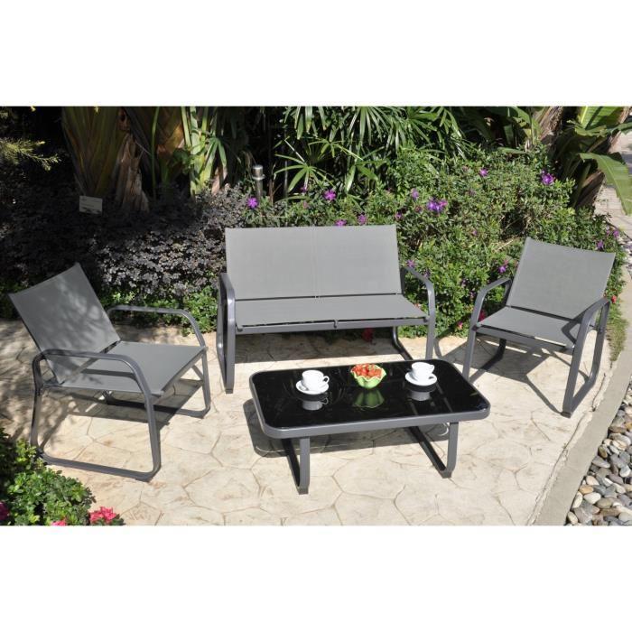 Salon de jardin Palmeri (canapé, 2 fauteuils et table basse)