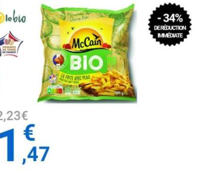 Frites avec peau Bio MC Cain - 500gr (Outreau 62)