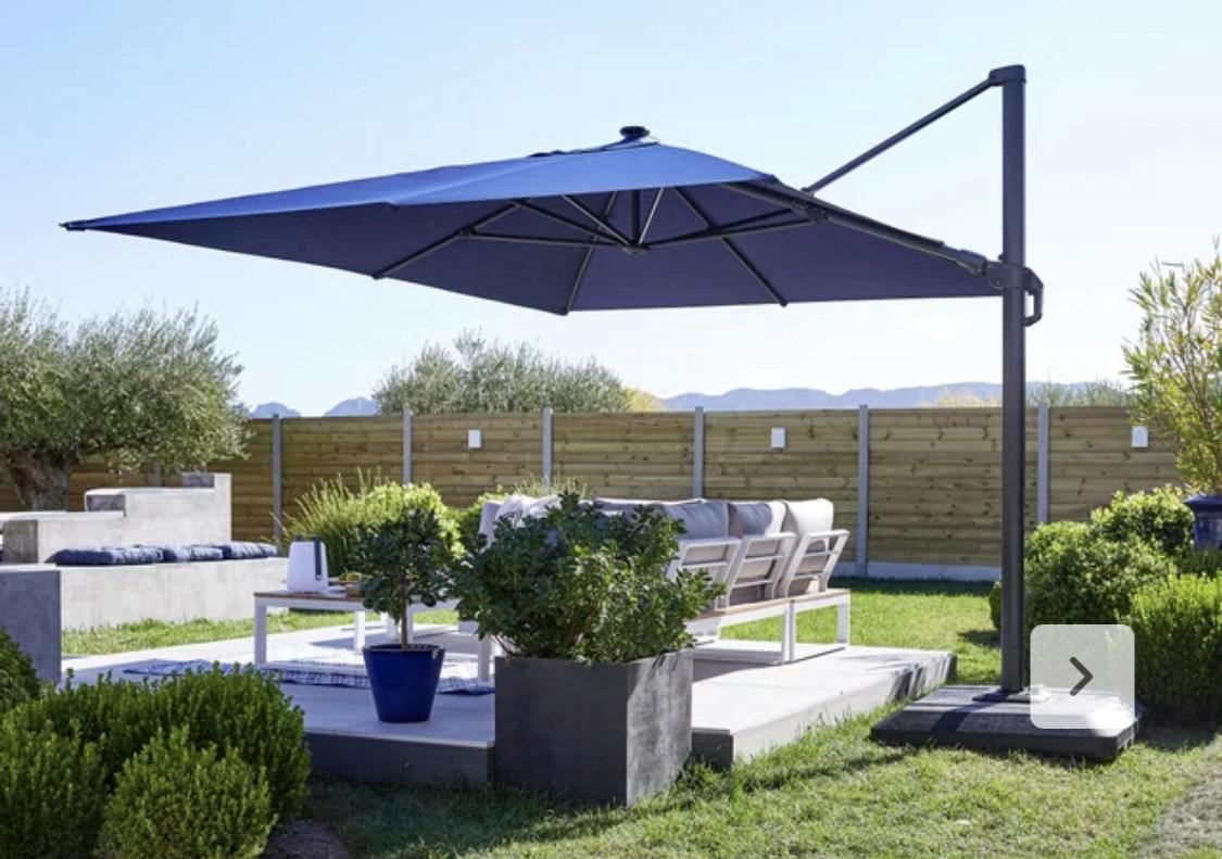 Parasol déporté rectangulaire à LED Naterial Sonora - Bleu ou Gris, L.391 x l.282 cm