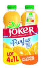 Lot de 8 Bouteilles de jus d'orange Joker Pur Jus (8x 1L)