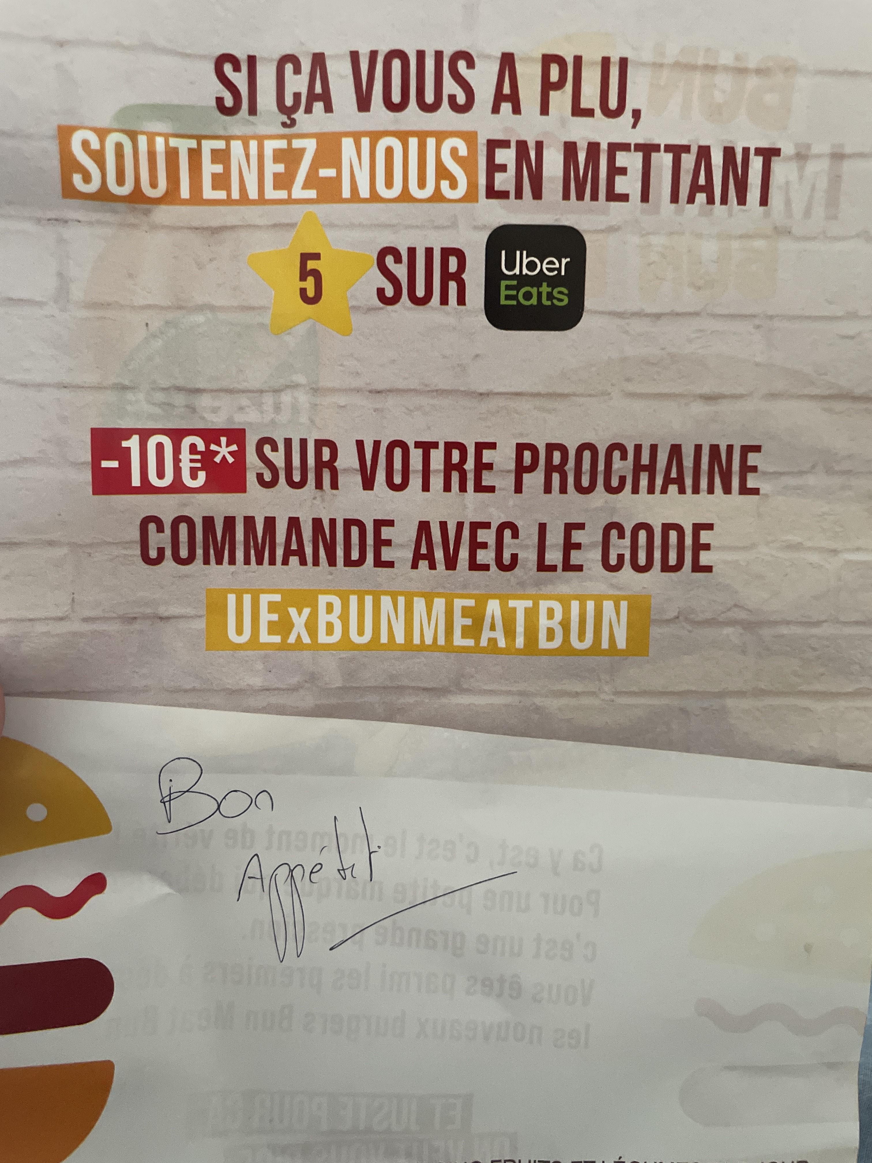 10€ de réduction dès 15€ de commande dans un restaurant Bun Meat Bun