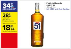 Bouteille de Pastis 51 - 1.5L (Via 9.66€ sur la carte fidélité)