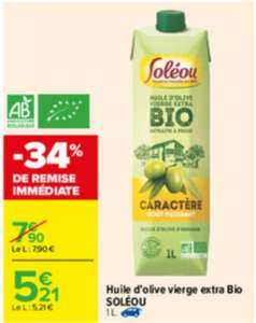 Huile d'olive vierge extra Bio Soléou - 1L