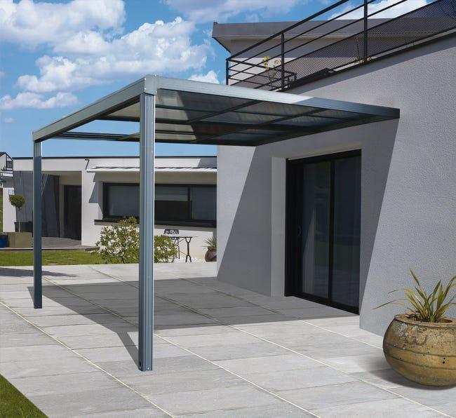 Tonnelle adossée Toscana - Aluminium gris anthracite, 12 m²