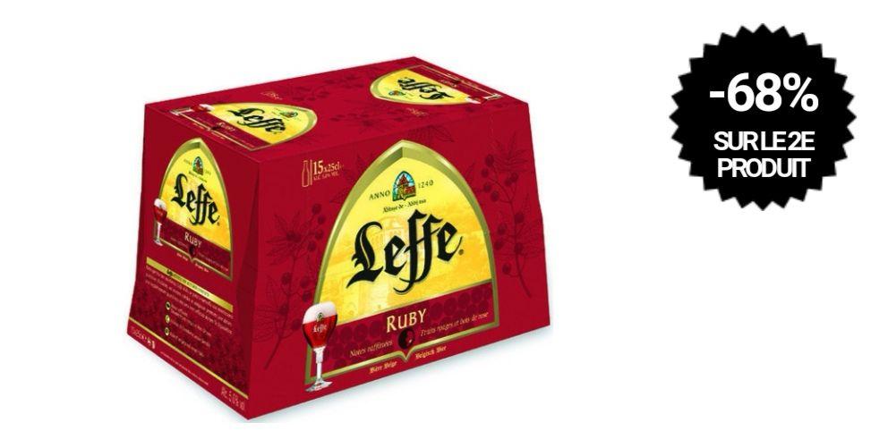 2 Packs de 15 bouteilles de bière belge d'abbaye Leffe Rubis - 30x25cl