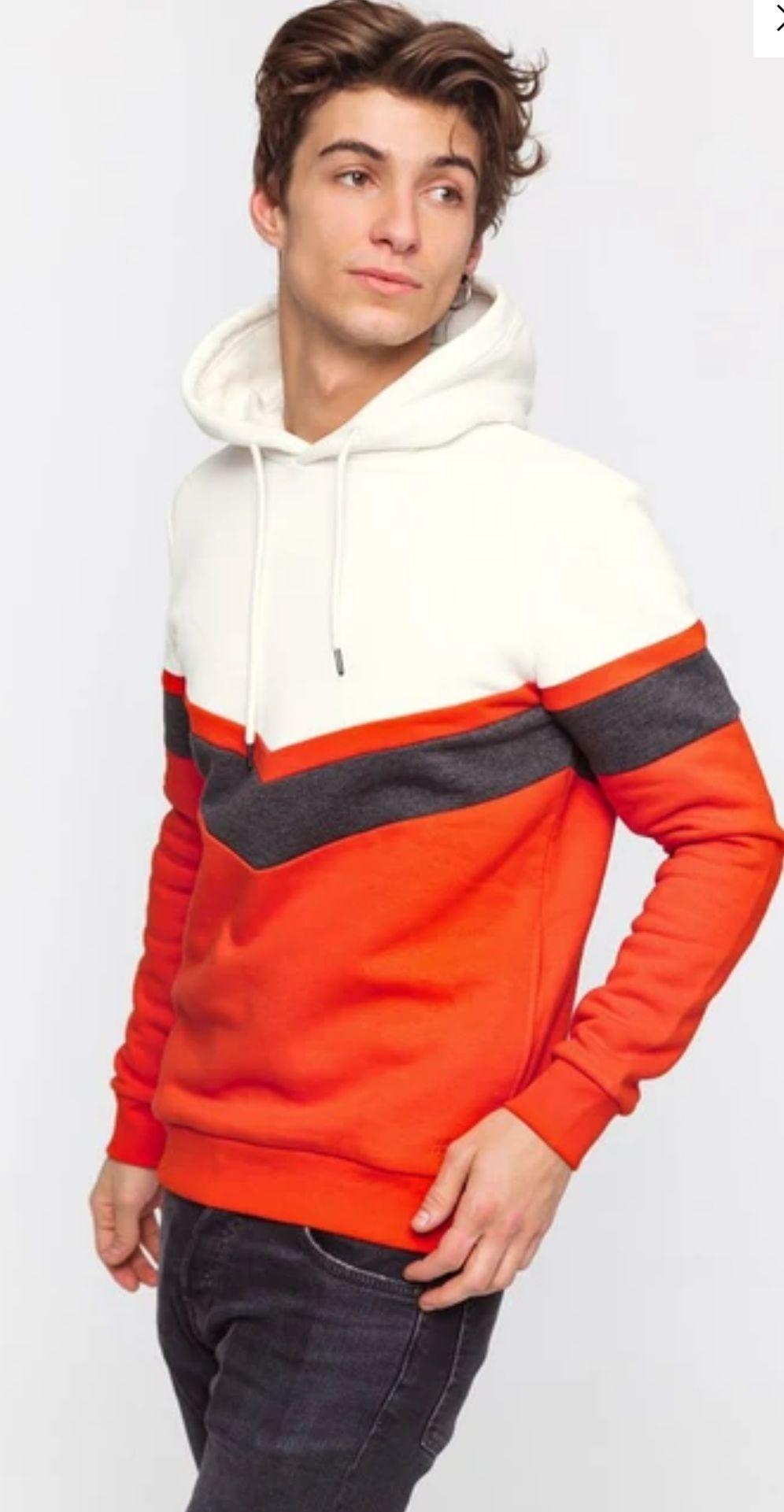 Sweat homme Bizzbee colorblock V - Orange, Taille XS au L