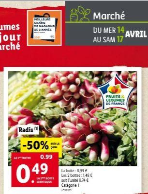 2 Bottes de radis d'origine France et de catégorie 1