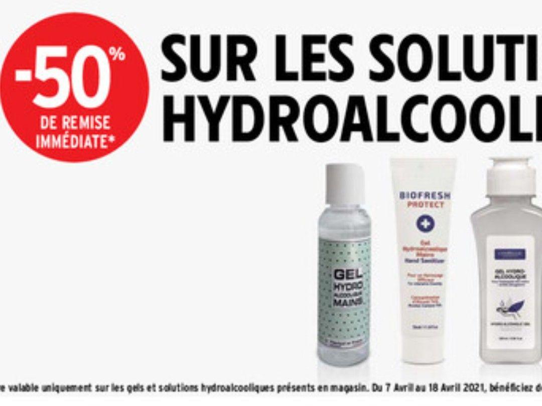 50% de réduction sur les gels Hydroalcoolique