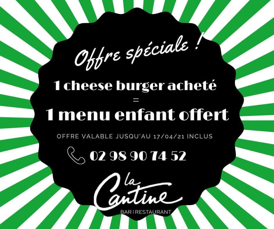 Un cheeseburger acheté = un menu enfant offert - La Cantine Quimper (29)