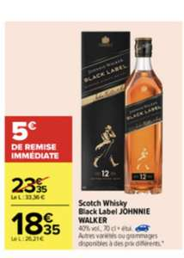 Bouteille de Scotch Johnnie Walker Black label - 70cl